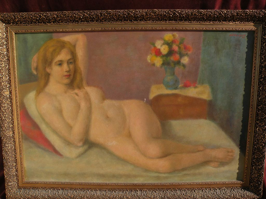 WILLIAM R. SHULGOLD (1897-1989) large poetic reclining nude painting by well listed American impressionist artist
