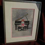 Watercolor painting of young woman at piano reminiscent of Norman Rockwell