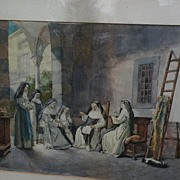 PAOLO SALA (1859-1924) Italian art original watercolor on paper painting nuns chatting in a co