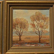 California art miniature desert oil landscape by VERNE of Laguna Beach