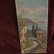 Impressionist painting of houses on a Mediterranean coast possible Italy