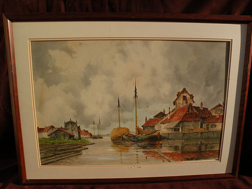 HERMANUS KOEKKOEK Jr. (1836-1909) watercolor painting of coastal town by noted Dutch artist