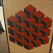 Mid century Op Art geometric painting signed