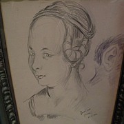 DAVID BURLIUK (1882-1967) Russian-American art original 1946 pencil drawing of a woman as ...