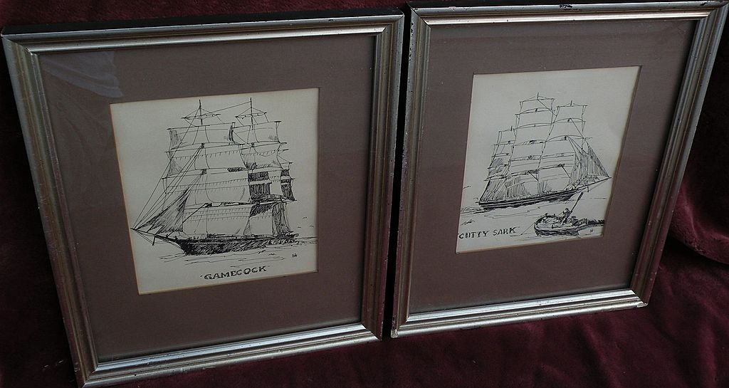 PAIR of marine art ink drawings of clipper ships &quot;Gamecock&quot; and &quot;Cutty Sark&quot;