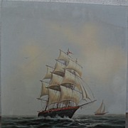 Clipper ship oil painting signed