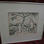 "VANCE HALL KIRKLAND (1904-1981) Colorado art pencil signed 1940 lithograph print ""Adam an"