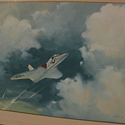 R. G. SMITH (1914-2001) important aviation artist original watercolor and gouache painting of