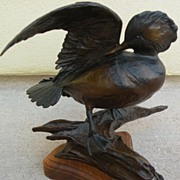 VERYL GOODNIGHT (1947-)  original limited edition bronze sculpture of a duck by noted ...