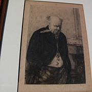 "After ERSKINE NICOL (1825-1904) Scottish art etching ""Worrited"" by L. Richeton 1879"