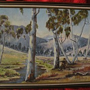 Australian sporting art signed 1985 painting of hunter in a eucalyptus landscape