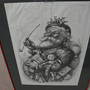 "THOMAS NAST (1840-1902) original iconic ""Merry Old Santa Claus"" Harper's Weekly 1881"