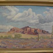 Arizona art 1956 signed oil landscape painting of the Superstition Mountains and surrounding d
