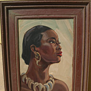 EINAR C. PETERSEN (1885-1986) California art elegant portrait painting of African woman ""