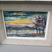 Irish art 1990 small painting &quot;Clew Bay&quot; County Mayo by artist Jim Houston