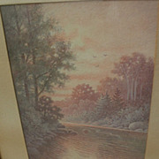 PERCY A. SANBORN (1849-1929) fine watercolor river landscape painting by one of Maine's best k