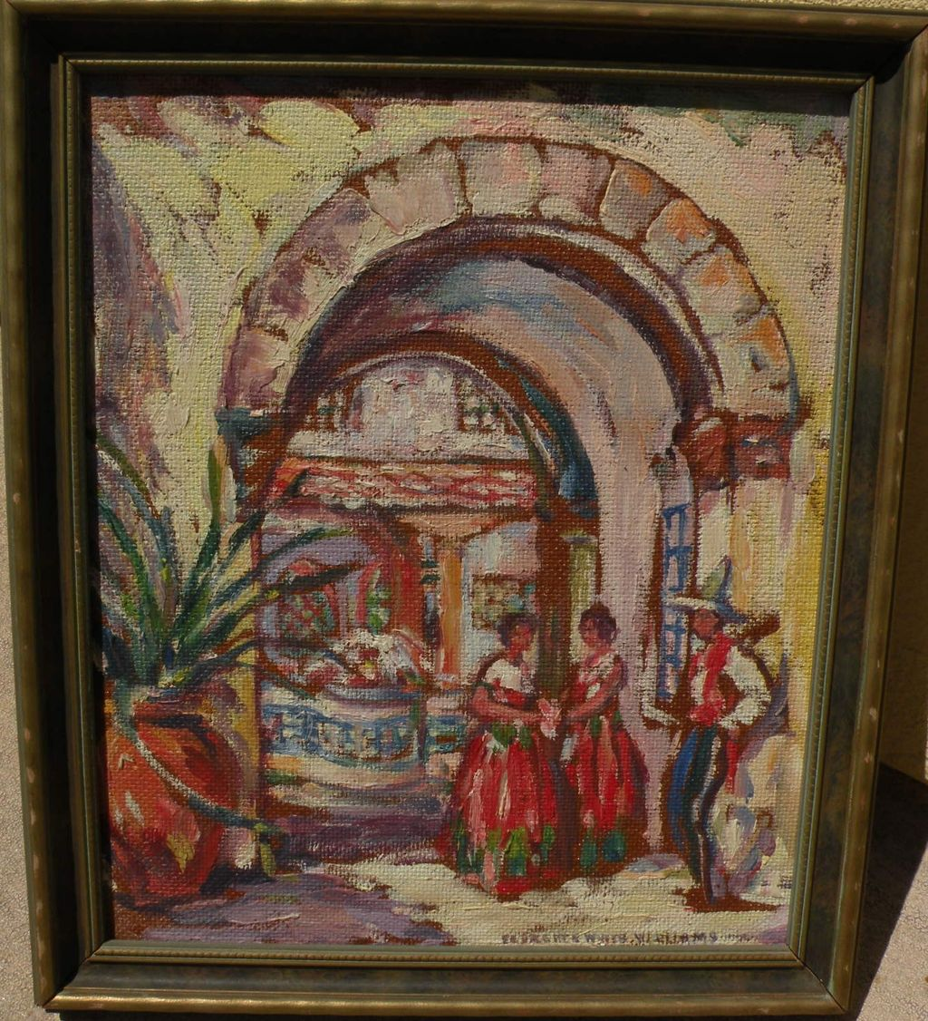 FLORENCE WHITE WILLIAMS (1888-1953) impressionist Mexican village scene by well listed American artist