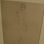 DAME ETHEL WALKER (1861-1951) modern English art pencil drawing of standing female nude dated 