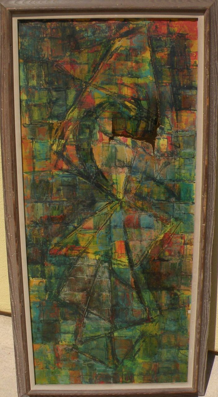 LOUIS SCHANKER (1903-1981) American abstract art painting by well listed artist and teacher, restoration required