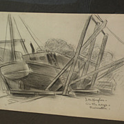 DAISY MARGUERITE HUGHES (1882-1968) pencil sketch of Provincetown boatyard