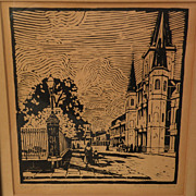 CLARENCE MILLET (1897-1959) Louisiana regionalist art pencil signed woodcut print of New Orlea