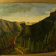 Early California art 19th century naive painting of Gold Country landscape with miners circa 1