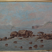 Early California art circa 1900 painting of Fort Point and Golden Gate in San Francisco before