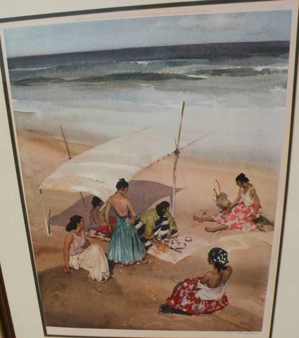 "WILLIAM RUSSELL FLINT (1880-1969) important English 20th century watercolor artist limited edition signed photolithograph print ""Gitanas at La Galera"""