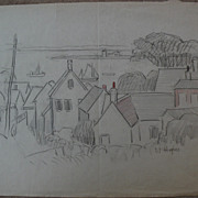 DAISY MARGUERITE HUGHES (1882-1968) charcoal landscape sketch with added color, of houses and