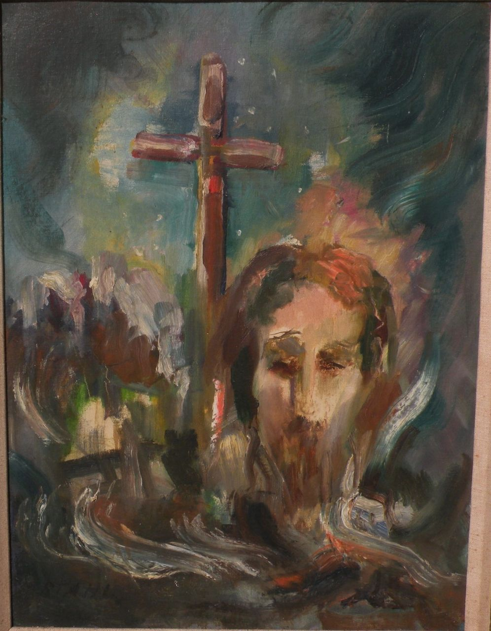 WILLY STAHL  1896-1963  expressionist painting of Jesus and the cross    Jesus On The Cross Painting