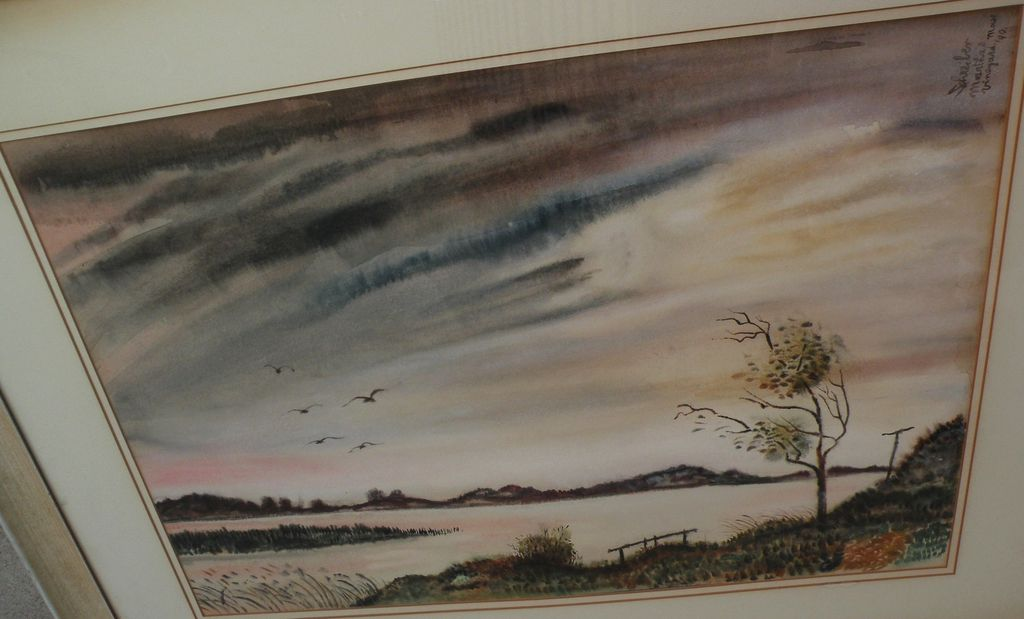 "GEORGES L. SCHREIBER (1904-1977) original watercolor landscape painting ""Martha's Vineyard"" dated 1940 by noted American artist‏"