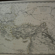 Antique engraved map of Turkish Empire and the Kingdom of Greece 1845 with some hand ...