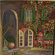 New Orleans Louisiana art signed painting of Brulatour Courtyard in the French Quarter