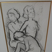 BEN-ZION MAGAL (1908-1999) Israeli art charcoal drawing of nude female figures