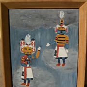 Southwestern American art vintage 1953 painting of katchina dolls