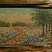 Texas bluebonnet art small painting of a country landscape in the spring signed GOFF