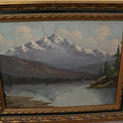 California art vintage mountain landscape painting possibly by listed artist RICHARD DETREVILL