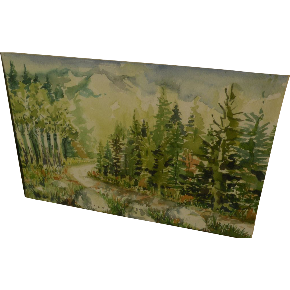 Impressionist watercolor landscape painting of trees and distant mountains