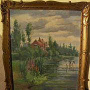 Vintage French impressionist signed painting of a home overlooking a pond signed and nicely fr