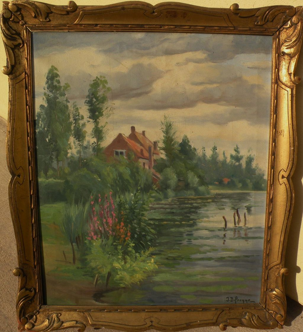 Vintage French impressionist signed painting of a home overlooking a pond signed and nicely framed