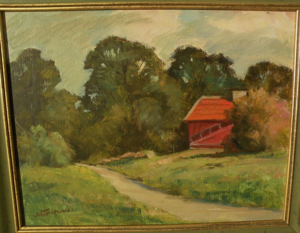 Impressionist landscape painting of a house in a clearing signed Westerlund
