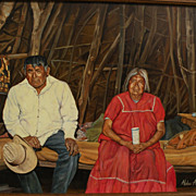 Southwestern American realist art fine painting of Navajo or Mexican couple in rustic interior