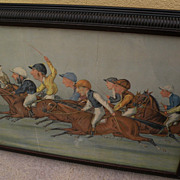 LIBERIO PROSPERI (1854-1928) 19th century English sporting art lithograph of horse race by not
