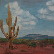 Southwest art signed Arizona desert painting with saguaro cactus