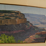 GEORGE PETER Southwest art vintage panoramic oil painting of the Grand Canyon in Arizona