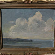 Circa 1940 impressionist vintage coastal seascape oil painting in interesting old frame