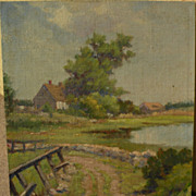 American early 20th century impressionist painting of cottage by a pond
