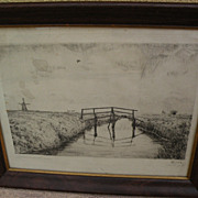 JOHANNES LARSEN (1867-1961) Danish art pencil signed numbered etching of a landscape