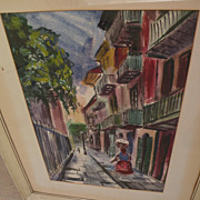 TOM LANE (1916-1991) Louisiana art watercolor painting circa 1950 of New Orleans Pirates Alley