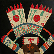 Southwestern Native American ethnographic art original painting of ceremonial headgear